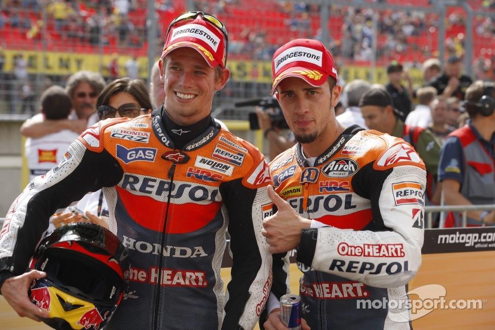 Race winner Casey Stoner, Repsol Honda Team, second place Andrea Dovizioso, Repsol Honda Team
