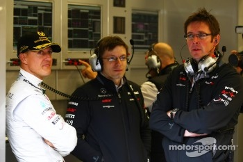 Michael Schumacher, Mercedes GP F1 Team with his new race engineer Peter Bonnington