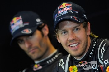 Press conference: race winner Sebastian Vettel, Red Bull Racing, with second place Mark Webber, Red Bull Racing