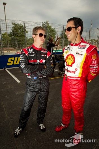 Ryan Briscoe, Team Penske and Helio Castroneves, Team Penske