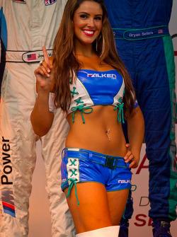 GT podium: a charming Flaken Tire girl