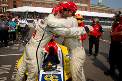 Race winner Gustavo Yacaman, Team Moore Racing celebrates with second place Josef Newgarden, Sam Schmidt Motorsports