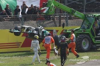 Nico Rosberg, Mercedes GP F1 Team after a crash caused by Vitantonio Liuzzi, HRT F1 Team