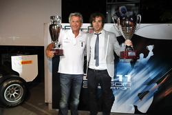 Dams and Luca Filippi collect their trophies for 2nd in the GP2 teams and drivers Championship