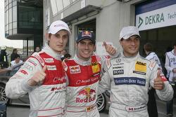 Pole winner Miguel Molina, Audi Sport Team Abt Junior, Audi A4 DTM, second place Bruno Spengler, Team HWA AMG Mercedes, AMG Mercedes C-Klasse, third place Oliver Jarvis, Audi Sport Team Abt, Audi A4 DTM