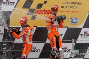 Podium: race winner Casey Stoner, Repsol Honda Team, second place Dani Pedrosa, Repsol Honda Team