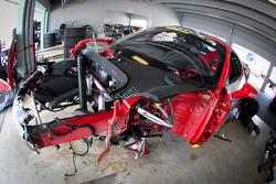 Heavy damage on the #66 Ferrari of Ft. Lauderdale Ferrari 458 Challenge: Maurizio Scala