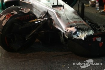 car of Michael Schumacher, Mercedes GP after his crash