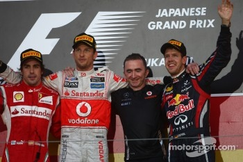 Fernando Alonso, Scuderia Ferrari with Jenson Button, McLaren Mercedes and new world champion Sebastian Vettel, Red Bull Racing
