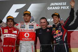 Fernando Alonso, Scuderia Ferrari with Jenson Button, McLaren Mercedes and new world champion Sebastian Vettel, Red Bull Racing