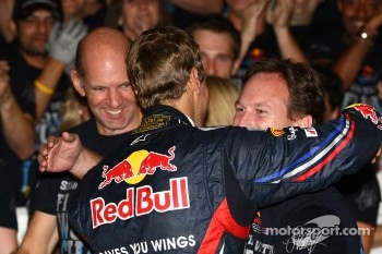 Sebastian Vettel, Red Bull Racing new world champion celebrates with the team, Christian Horner, Red Bull Racing, Sporting Director