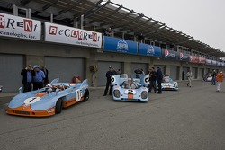 Classic Porsche race cars are staged for the Stuggart Cup qualifying session