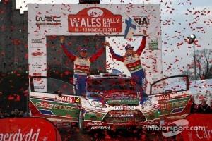 Podium: winners Jari-Matti Latvala and Miikka Anttila, Ford Fiesta RS WRC, BP Ford Abu Dhabi World Rally Team