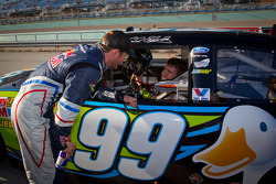 Pole winner Carl Edwards, Roush Fenway Racing Ford congratulated by Kasey Kahne, Red Bull Racing Team Toyota