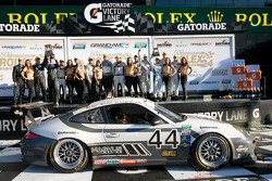 GT podium: class winners Andy Lally, Richard Lietz, John Potter, Rene Rast, second place Steven Bertheau, Jeroen Bleekemolen, Marc Goossens, Wolf Henzler, Spencer Pumpelly, third place Andrew Davis, Hurley Haywood, Leh Keen, Marc Lieb