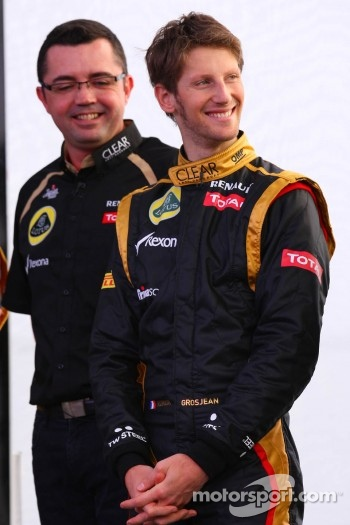 Eric Boullier, Team Principal, Lotus Renault F1 Team and Romain Grosjean, Lotus Renault F1 Team
