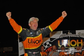 Kenny Wallace celebrates victory