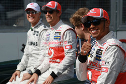 Michael Schumacher, Mercedes GP with Jenson Button, McLaren Mercedes, Sebastian Vettel, Red Bull Racing and Lewis Hamilton, McLaren Mercedes