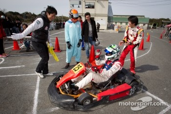 Go-kart charity event: Cyndie Allemann, Akira Mizutani and Michael Kim