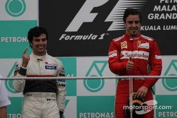 2nd place Sergio Perez, Sauber F1 Team and Fernando Alonso, Scuderia Ferrari