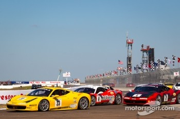 #23 Ferrari of Central Florida 458TP: Onofrio Triarsi leads #8 Ferrari of Ft Lauderdale 458TP and #4 Ferrari of Beverly Hills 458TP: Chris Ruud