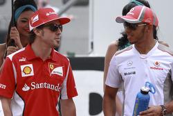 Fernando Alonso, Scuderia Ferrari and Lewis Hamilton, McLaren Mercedes