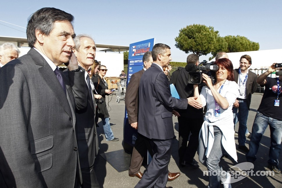 French Prime Minister Franois Fillon visits the paddock