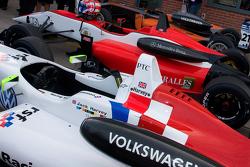 The top three cars: Jack Harvey, Harry Ticknell and Felix Serralles