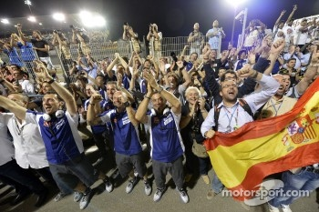 Yamaha Factory Racing team members celebrate