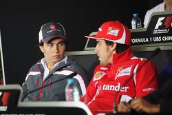 Sergio Perez, Sauber F1 Team with Fernando Alonso, Scuderia Ferrari in the FIA Press Conference