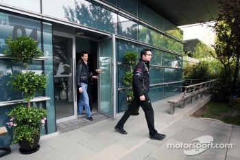 Eric Boullier, Lotus F1 Team Principal leaves a meeting of the teams concerning the upcoming Bahrain GP