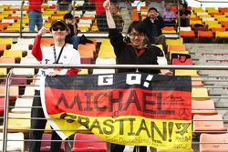 Michael Schumacher, Mercedes AMG F1 fans and banner