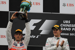 Jenson Button, McLaren Mercedes with 1st place Nico Rosberg, Mercedes AMG Petronas