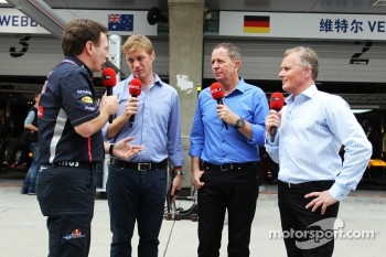 Christian Horner, Red Bull Racing Team Principal with Simon Lazenby, Sky Sports F1 TV Presenter