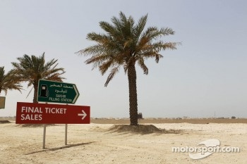 Ticket sales office sign near the circuit