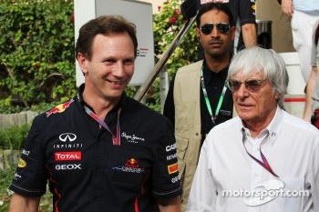 Christian Horner, Red Bull Racing Team Principal with Bernie Ecclestone, CEO Formula One Group (FOM)