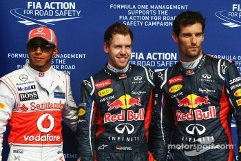 Qualifying top three in parc ferme, McLaren Mercedes, second; Sebastian Vettel, Red Bull Racing, pole position, Mark Webber, Red Bull Racing, third