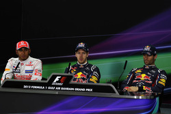 The FIA Press Conference, McLaren Mercedes, second; Sebastian Vettel, Red Bull Racing, pole position; Mark Webber, Red Bull Racing, third
