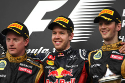 Kimi Raikkonen, Lotus F1 Team, Sebastian Vettel, Red Bull Racing and Romain Grosjean, Lotus F1 Team