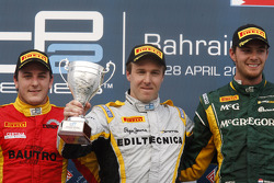 Race winner Davide Valsecchi, second place Fabio Leimer, third place Giedo Van der Garde