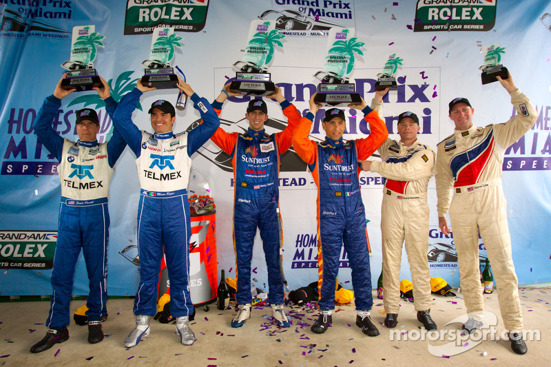 DP podium: class and overall winners Max Angelelli and Ricky Taylor, second place Scott Pruett and Memo Rojas, third place David Donohue and Darren Law
