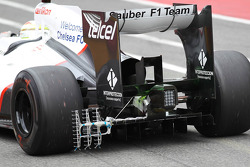 Sergio Perez, Sauber F1 Team running with aero sensor at the rear wheel