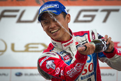 GT500 podium: winner Juichi Wakisaka