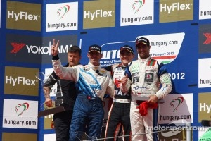 Norbert Michelisz, BMW 320 TC, Zengo Motorsport race winner, 2nd position Alain Menu, 3rd position Mehdi Bennani, BMW 320 TC, Proteam Racing