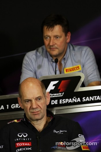 Adrian Newey, Red Bull Racing Chief Technical Officer and Paul Hembery, Pirelli Motorsport Director in the FIA Press Conference