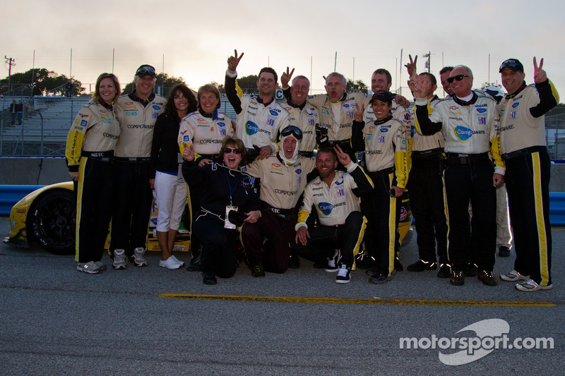 Corvette crew celebrating after winning back to back ALMS races