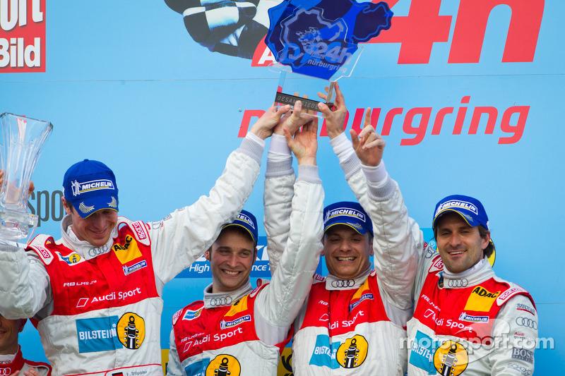Podium: race winners Marc Basseng, Christopher Haase, Frank Stippler and Markus Winkelhock