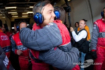 Audi Sport Team Phoenix team members congratulates each other after the last pit stop