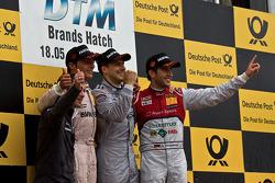 Podium from left: Bruno Spengler, BMW Team Schnitzer BMW M3 DTM, Gary Paffett, Team HWA AMG Mercedes, AMG Mercedes C-Coupe, Mike Rockenfeller, Phoenix Racing Audi A5 DTM