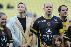 Princess Charlene of Monaco with HSH Prince Albert of Monaco, at the charity football match